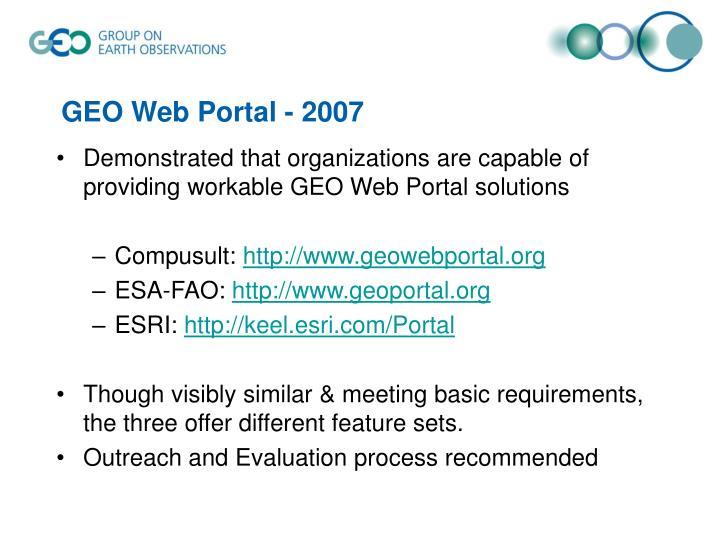 GEO Web Portal - 2007