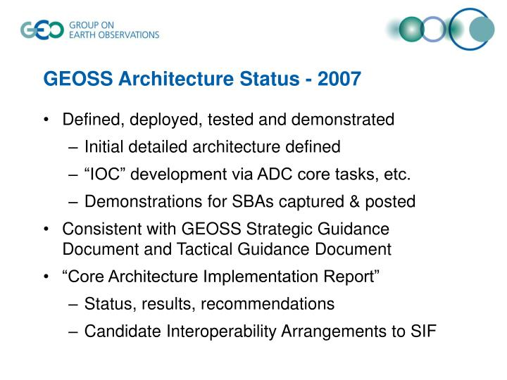 GEOSS Architecture Status - 2007