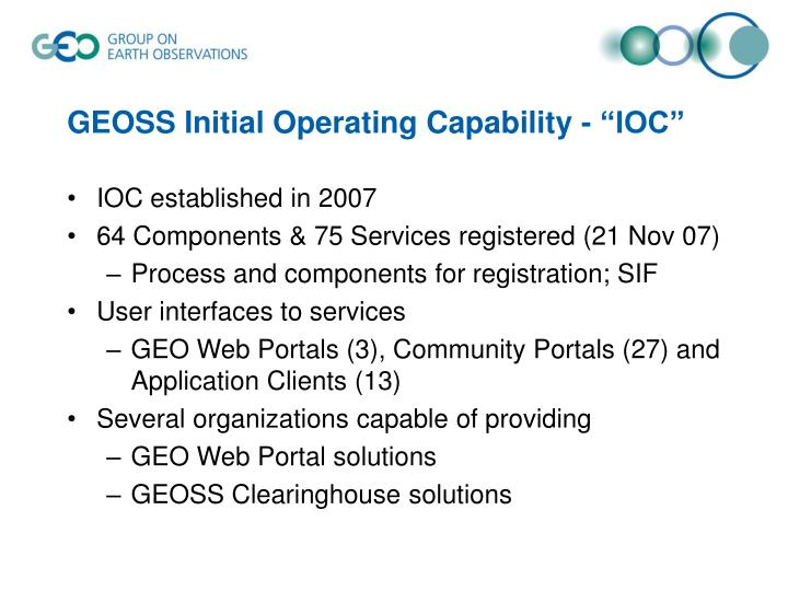"GEOSS Initial Operating Capability - ""IOC"""