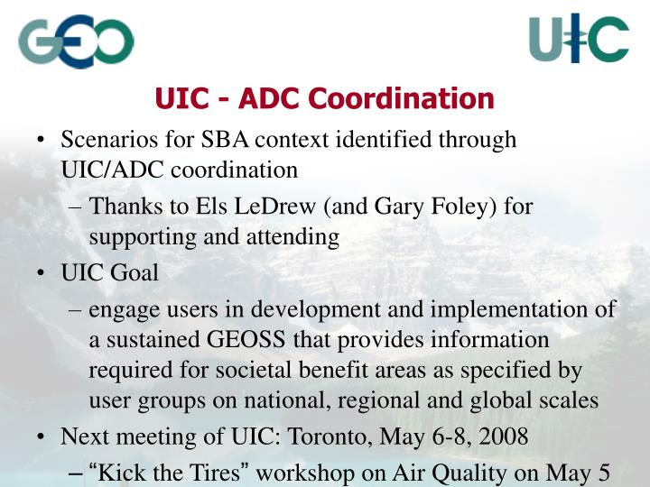 UIC - ADC Coordination