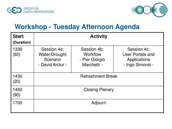 Workshop - Tuesday Afternoon Agenda
