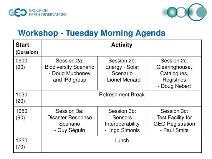 Workshop - Tuesday Morning Agenda