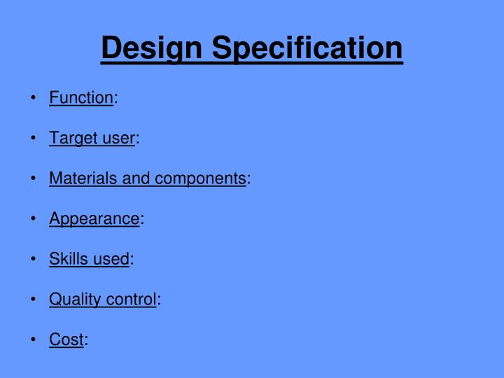 Design Specification