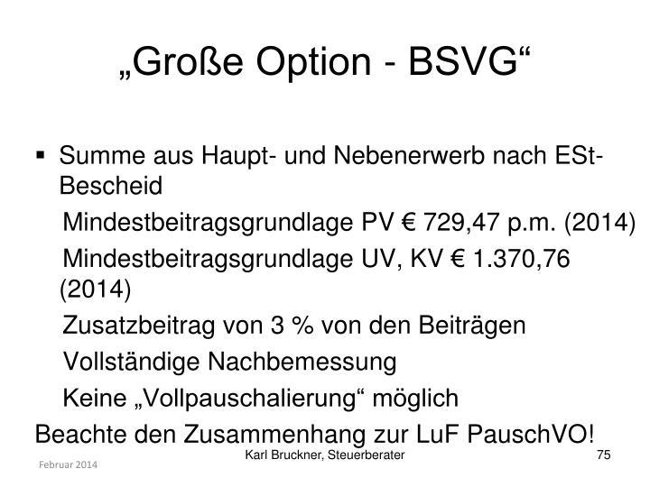 """""""Große Option - BSVG"""""""