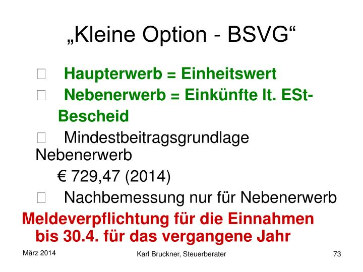 """Kleine Option - BSVG"""