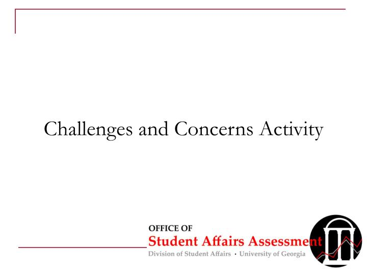 Challenges and Concerns Activity