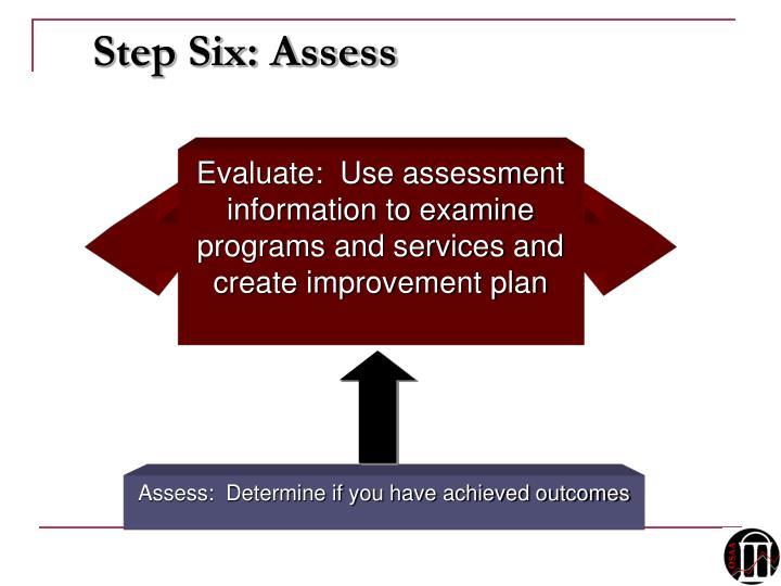 Step Six: Assess