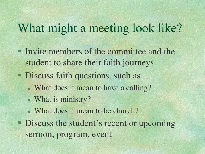 What might a meeting look like?