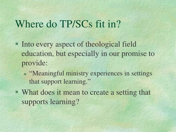 Where do TP/SCs fit in?