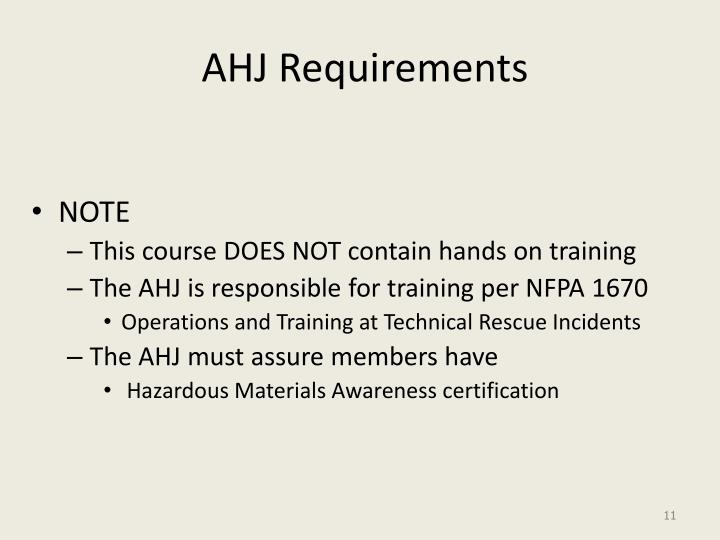 AHJ Requirements