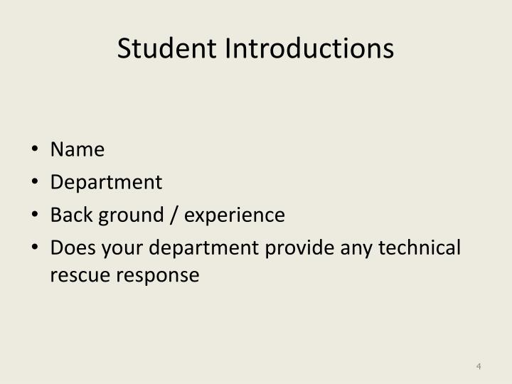 Student Introductions