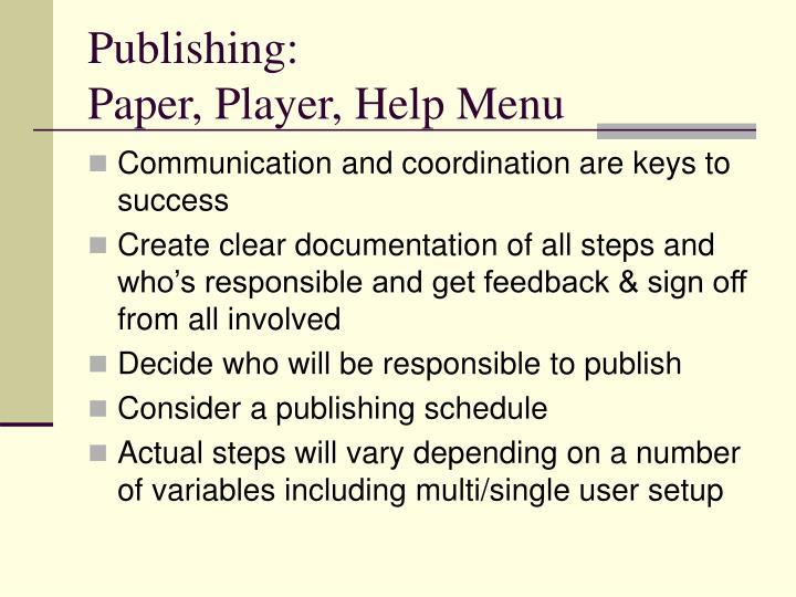 Publishing: