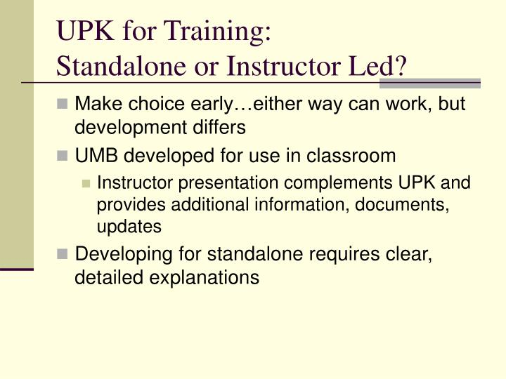 UPK for Training: