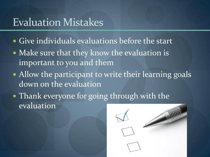Evaluation Mistakes