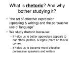 what is rhetoric and why bother studying it