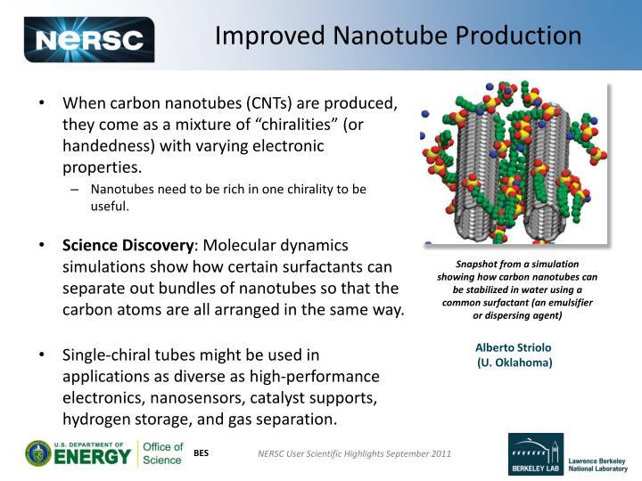 Improved Nanotube Production