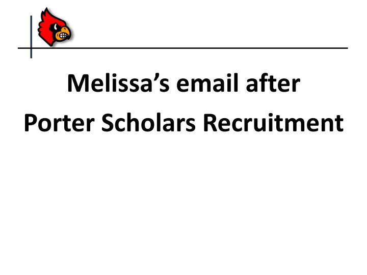Melissa's email after