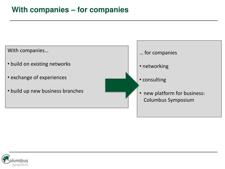 With companies – for companies
