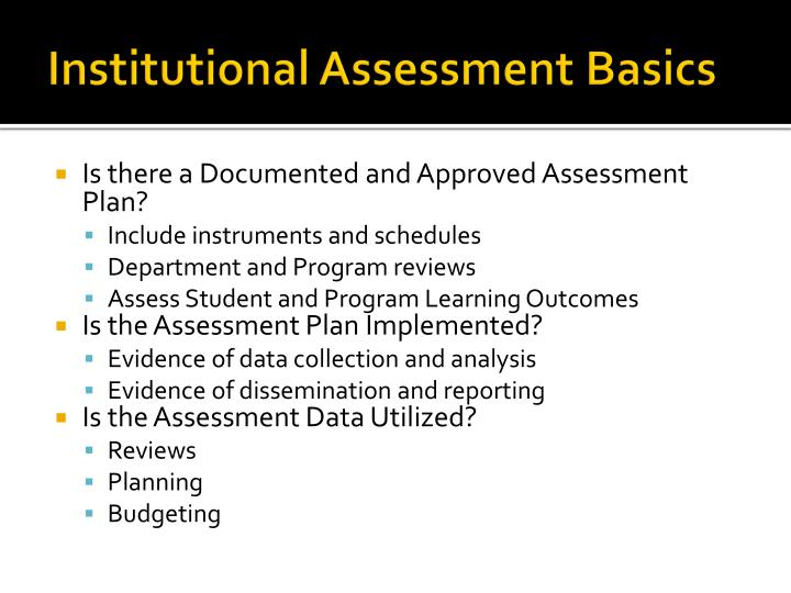 Institutional Assessment Basics