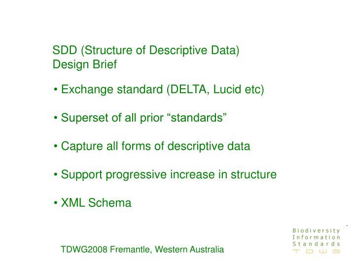 SDD (Structure of Descriptive Data) Design Brief