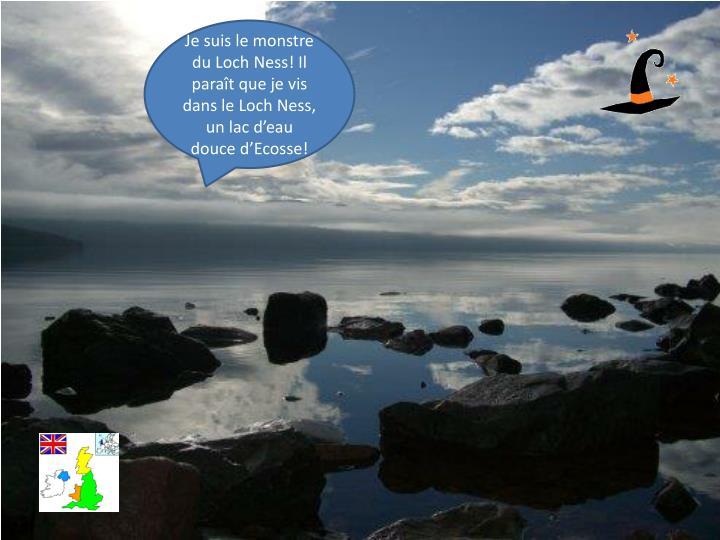 Je suis le monstre du Loch Ness! Il paraît que je vis dans le Loch Ness, un lac d'eau douce d'Ecosse!