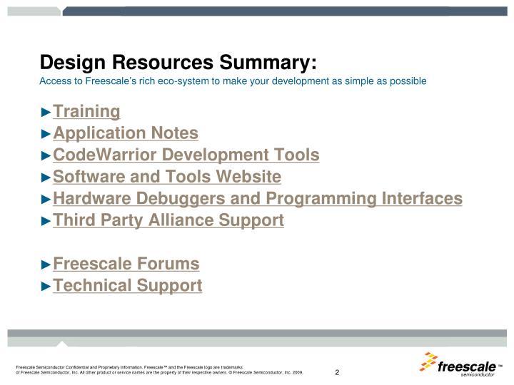 Design Resources Summary: