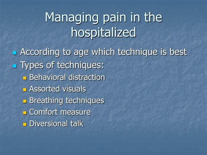 Managing pain in the hospitalized