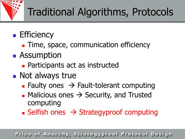 Traditional Algorithms, Protocols
