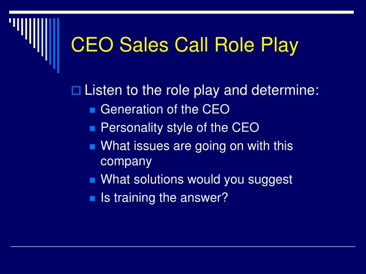 CEO Sales Call Role Play