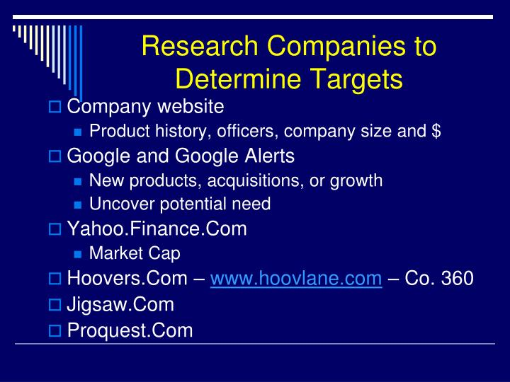 Research Companies to Determine Targets