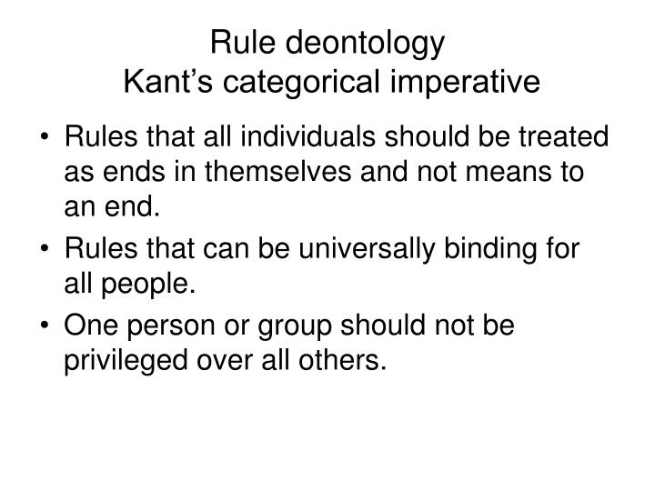 rules is rules deontology essay Theory that non-consequentialist principles must be applied in the form of rules, and that such rules determine whether particular acts are right or wrong contrast with act deontology.