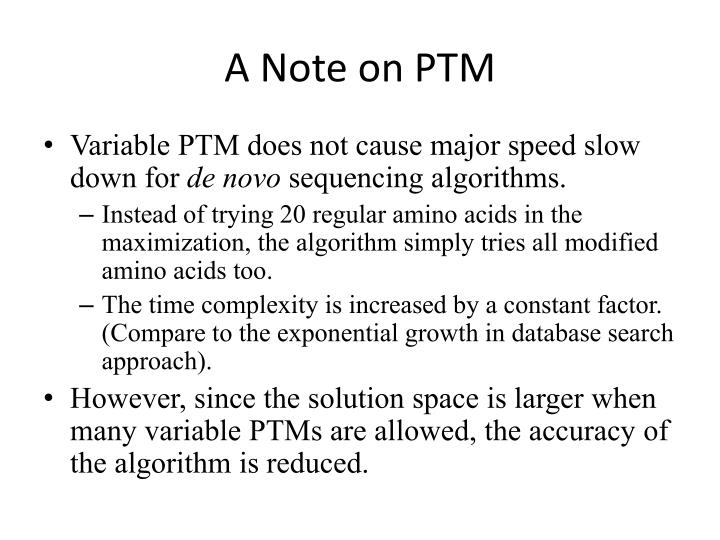 A Note on PTM