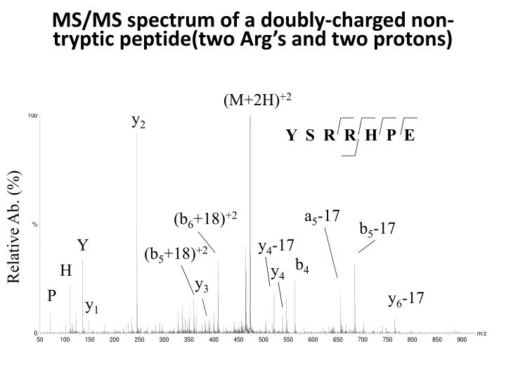 MS/MS spectrum of a doubly-charged non-