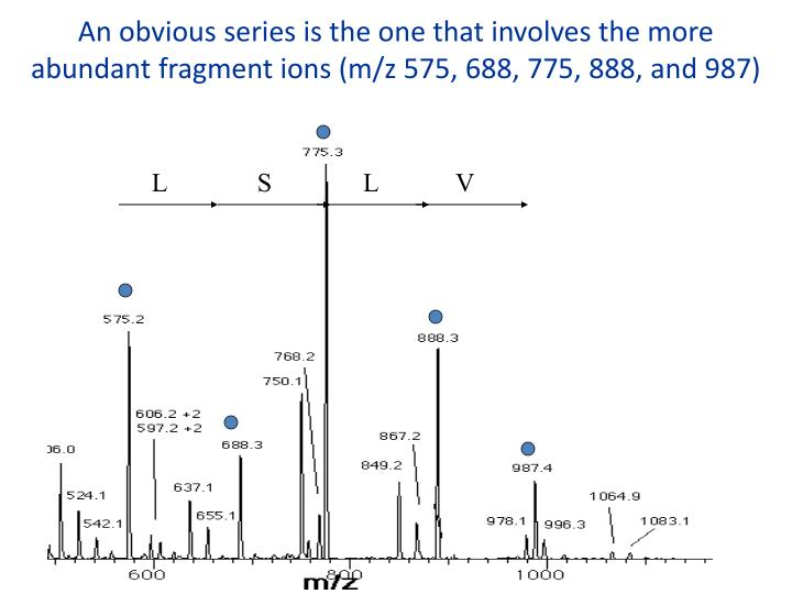 An obvious series is the one that involves the more abundant fragment ions (m/z 575, 688, 775, 888, and 987)