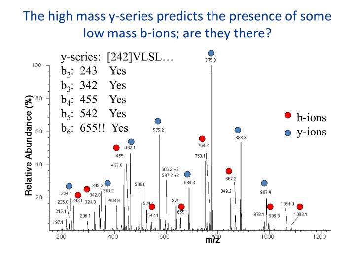 The high mass y-series predicts the presence of some low mass b-ions; are they there?