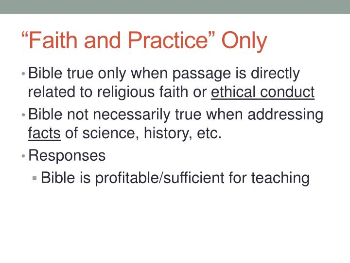 """""""Faith and Practice"""" Only"""