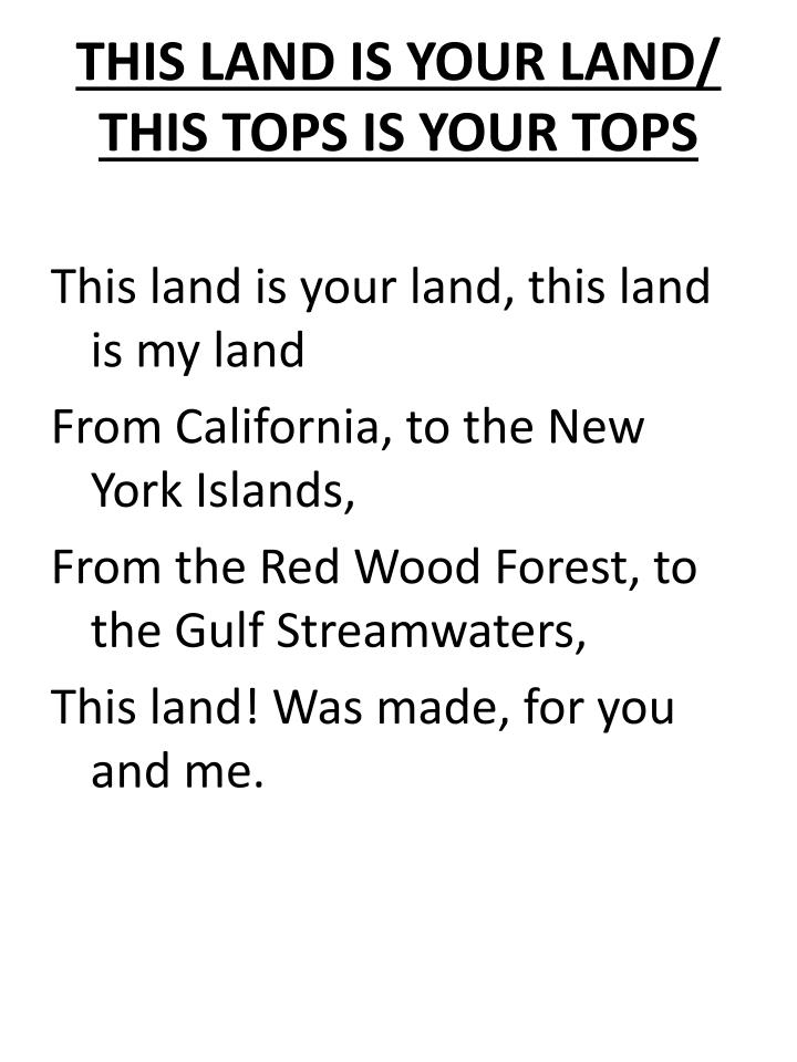 THIS LAND IS YOUR LAND/