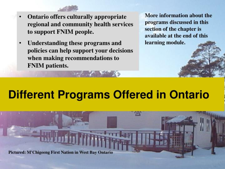 Different Programs Offered in Ontario