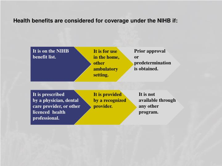 Health benefits are considered for coverage under the NIHB if: