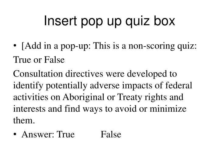 Insert pop up quiz box