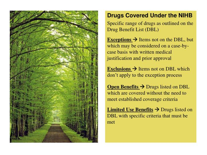 Drugs Covered Under the NIHB