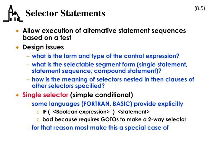 Selector Statements