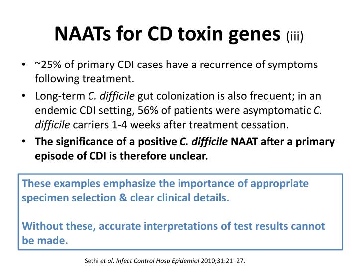 NAATs for CD toxin genes