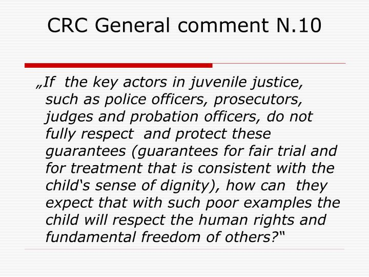 CRC General comment N.10