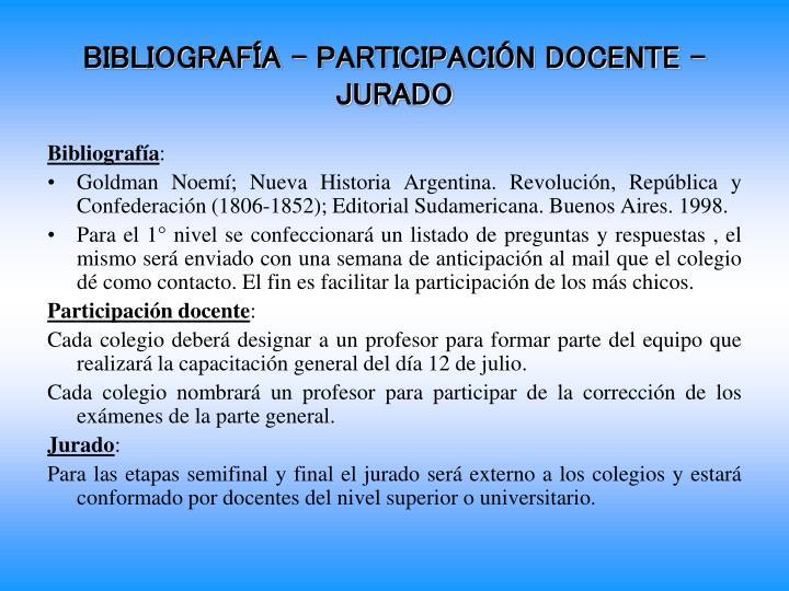 BIBLIOGRAFÍA – PARTICIPACIÓN DOCENTE - JURADO