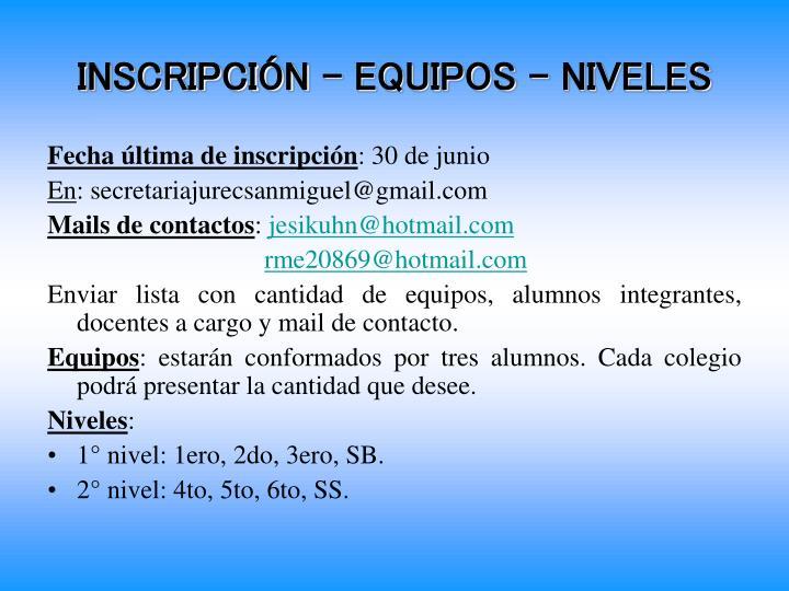 INSCRIPCIÓN – EQUIPOS - NIVELES