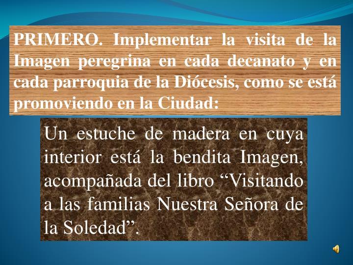 PRIMERO. Implementar la visita de la Imagen peregrina en cada decanato y en cada parroquia de la Diócesis, como se está promoviendo en la Ciudad: