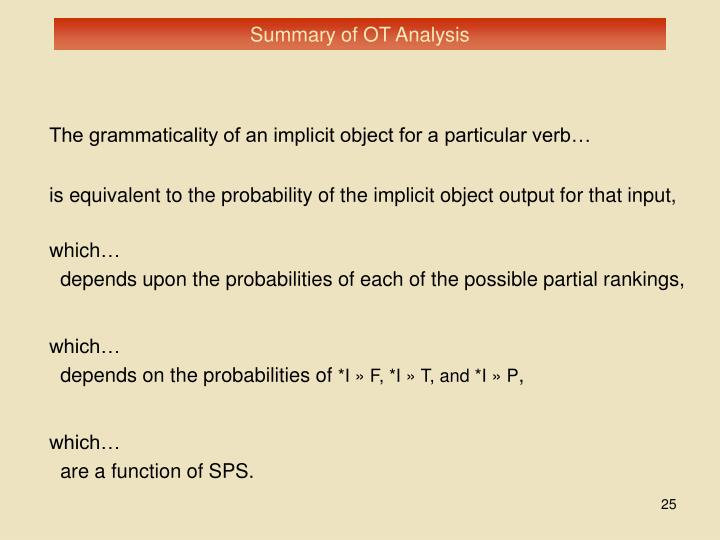Summary of OT Analysis