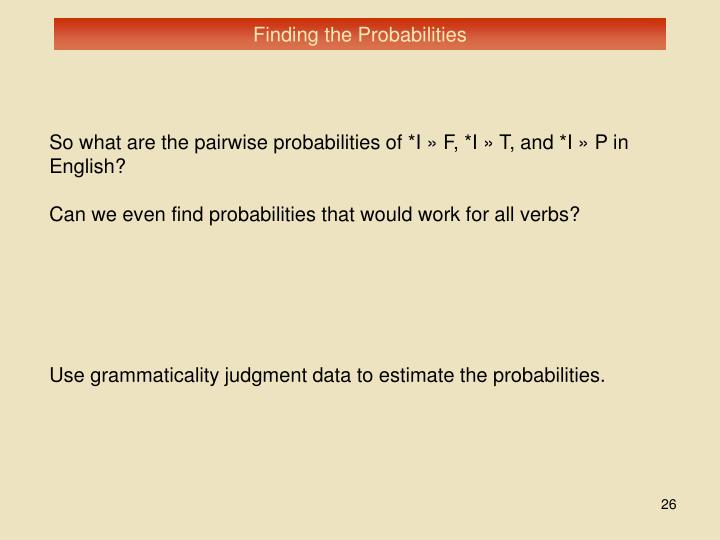 Finding the Probabilities