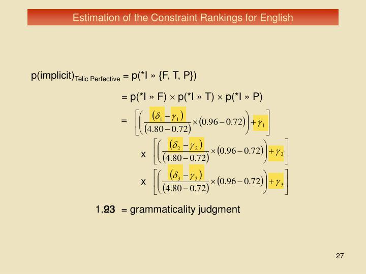 Estimation of the Constraint Rankings for English